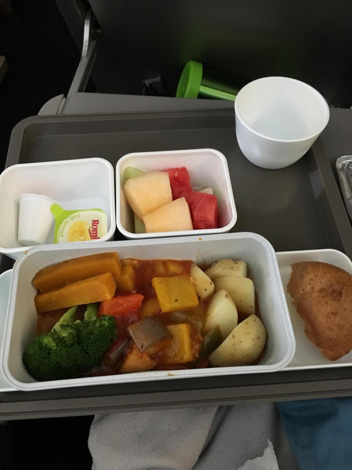 Bali and Perth Trip Flight Veggie Stew and Fruits